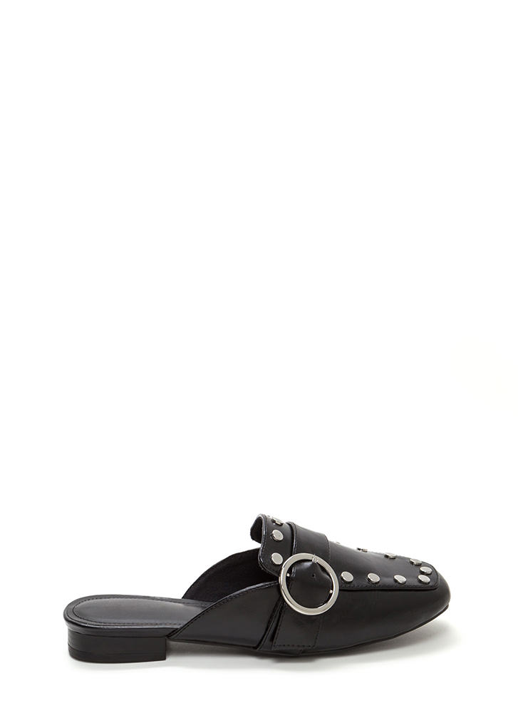 Chic Step Buckled Studded Mule Flats BLACK