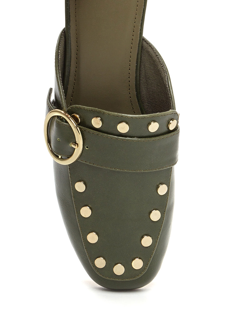 Chic Step Buckled Studded Mule Flats OLIVE