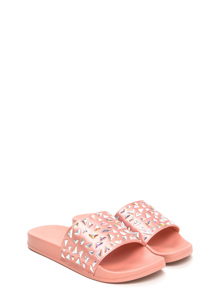 Extra Shine Jeweled Satin Slide Sandals BLUSH