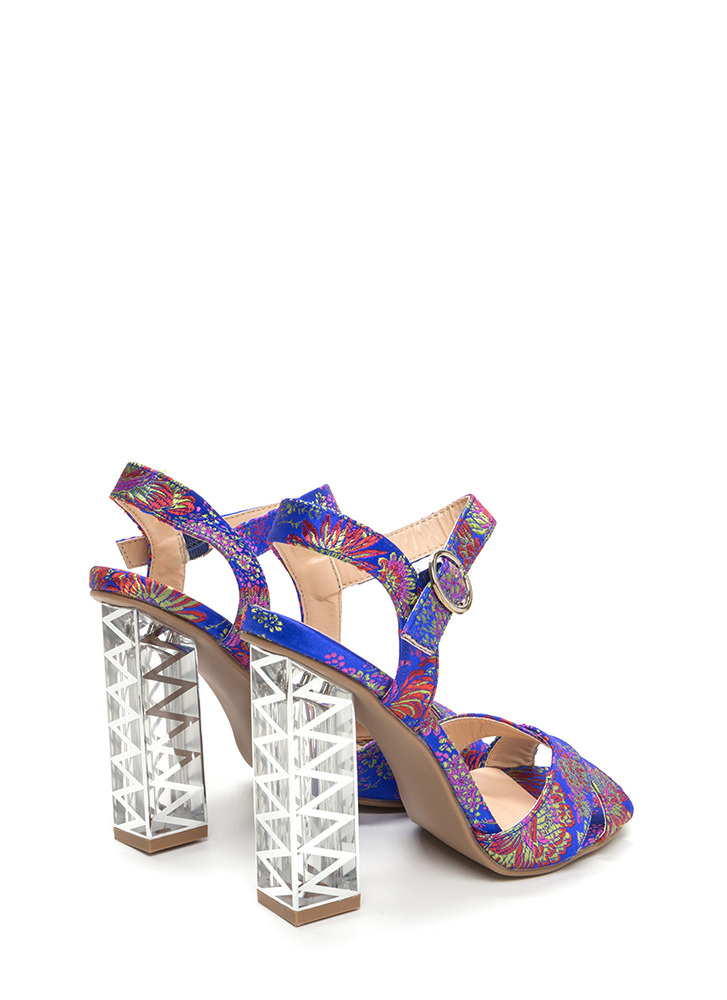 Clear Away Chunky Floral Satin Heels BLUEMULTI