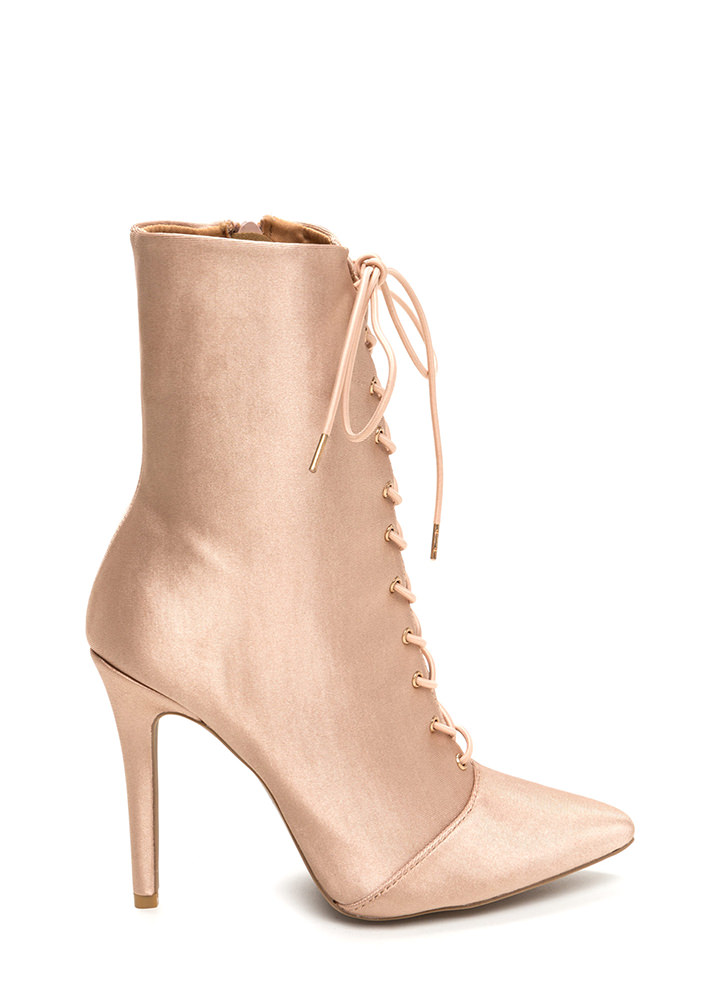 Luxe Be A Lady Pointy Lace-Up Booties CHAMPAGNE