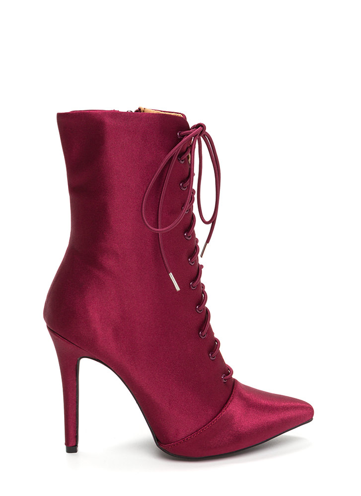 Luxe Be A Lady Pointy Lace-Up Booties WINE