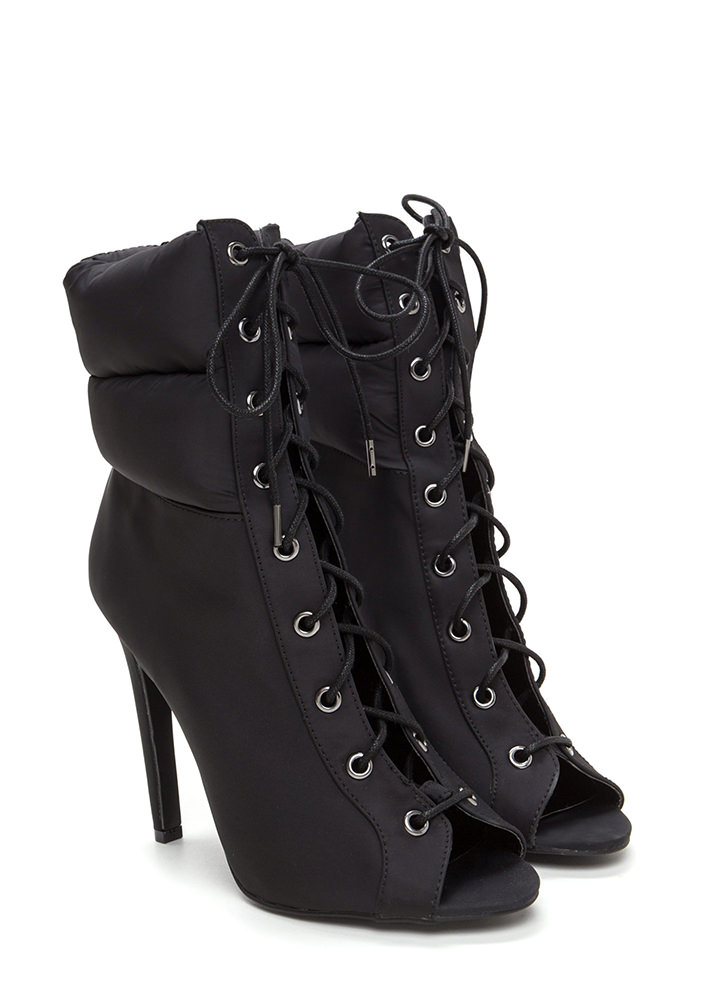 Urban Warrior Lace-Up Peep-Toe Booties BLACK