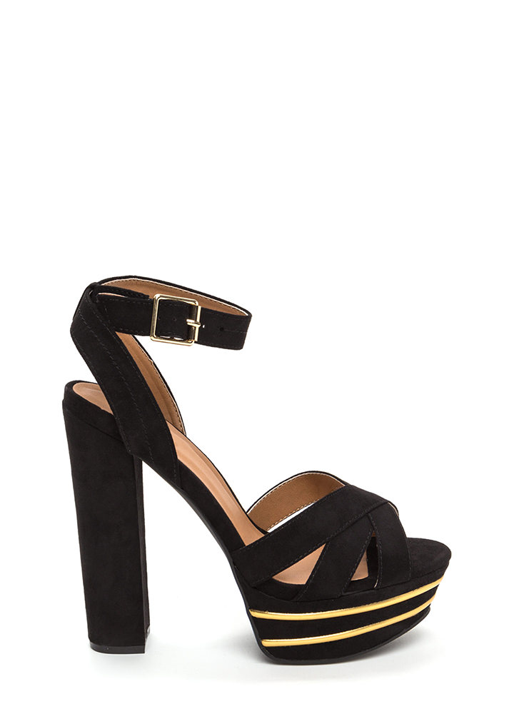 Party Platform Chunky Mixed Media Heels BLACK