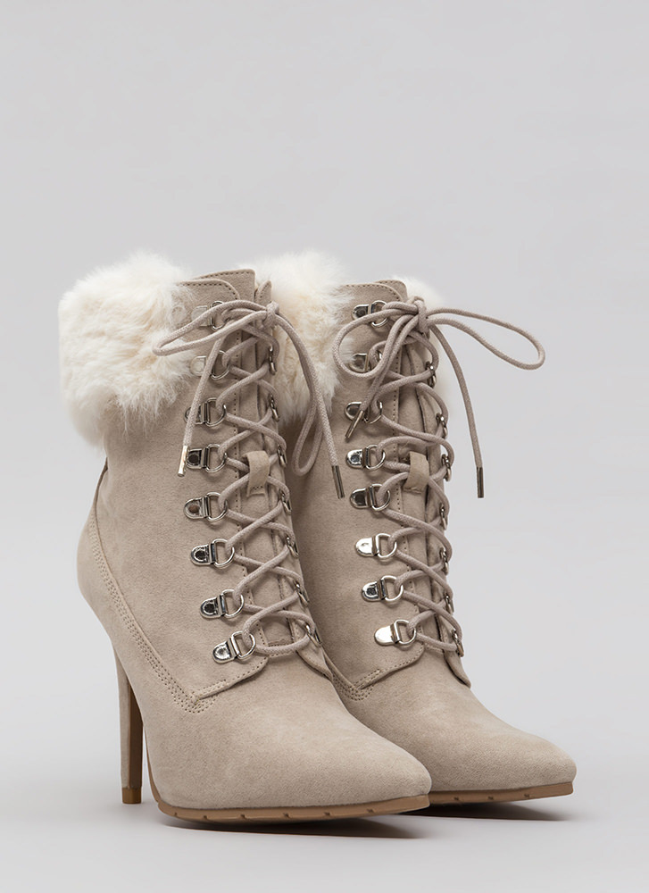 Fur Real Pointy Lace-Up Booties OATMEAL