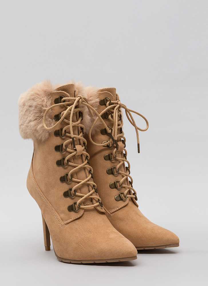 Fur Real Pointy Lace-Up Booties TOFFEE