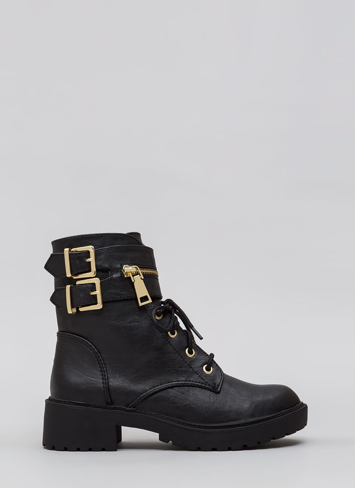 Double Up Buckled Lace-Up Combat Boots BLACK (Final Sale)