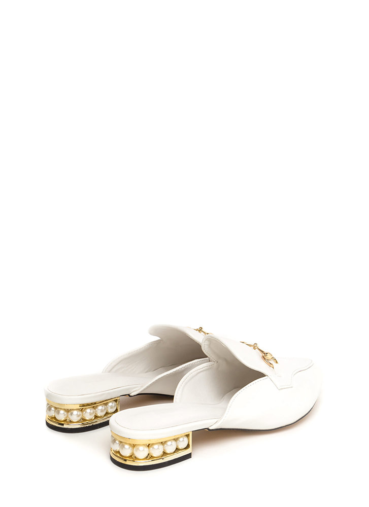 Treasure Hunt Pointy Loafer Mule Flats WHITE