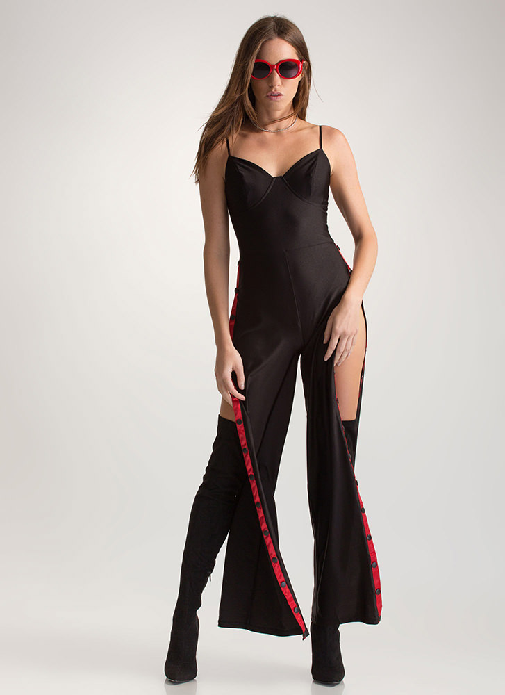 Run This Town Tearaway Palazzo Jumpsuit BLACKRED