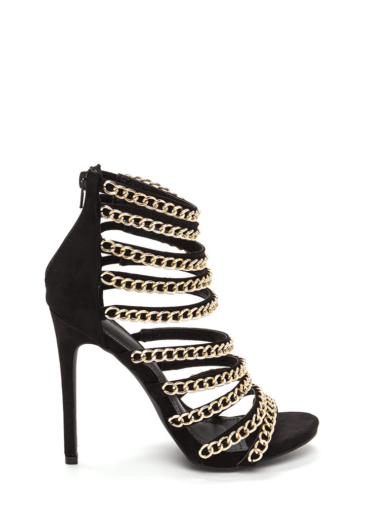 Chain Gang Caged Faux Suede Heels BLACK (Final Sale)
