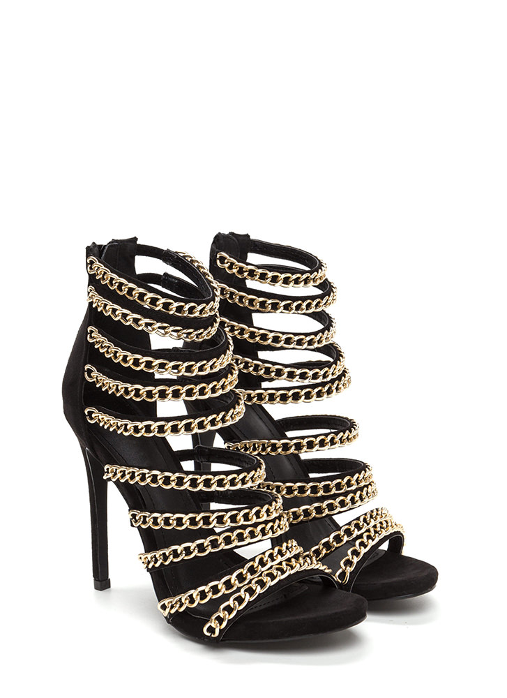 Chain Gang Caged Faux Suede Heels BLACK