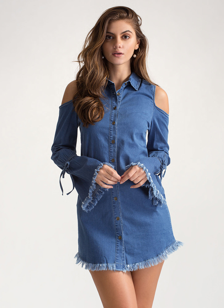 Jean Sequence Cold Shoulder Mini Dress BLUE