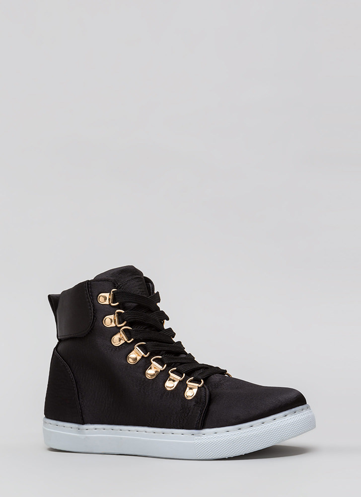 Luxe Street Style High-Top Sneakers BLACK