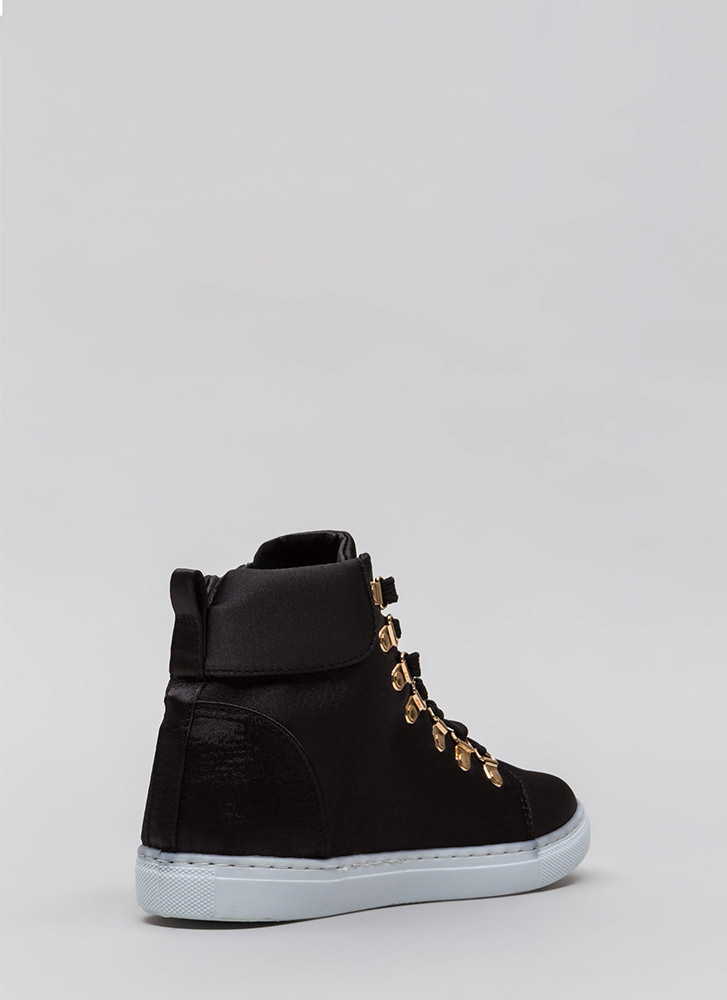 Luxe Street Style High-Top Sneakers BLACK (You Saved $15)