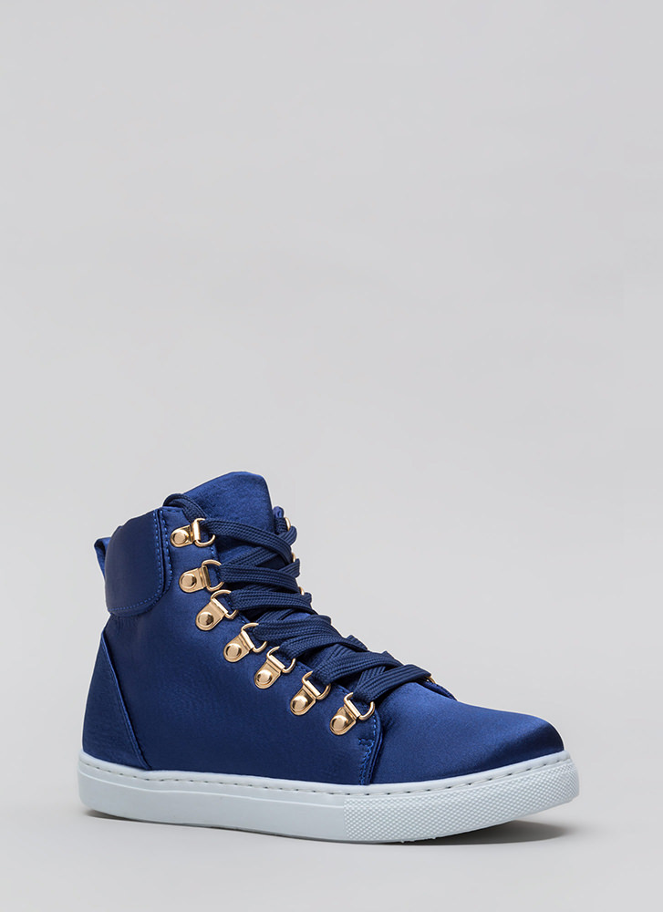 Luxe Street Style High-Top Sneakers BLUE