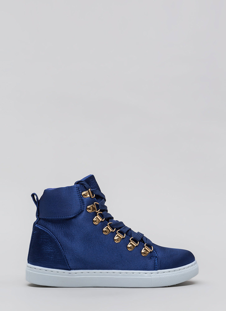 Luxe Street Style High-Top Sneakers BLUE (You Saved $15)