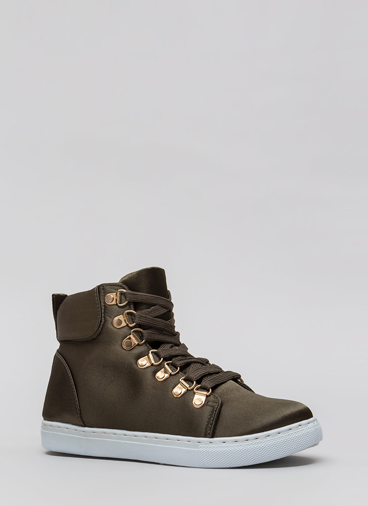 Luxe Street Style High-Top Sneakers OLIVE