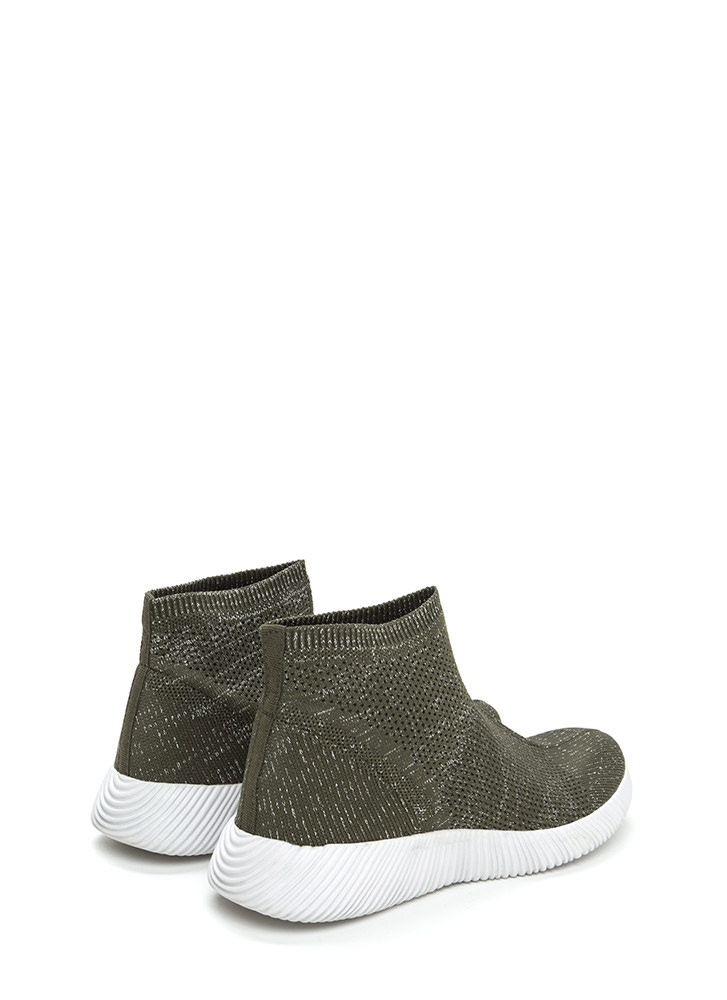 Running Start Glitzy Knit Sneakers OLIVE