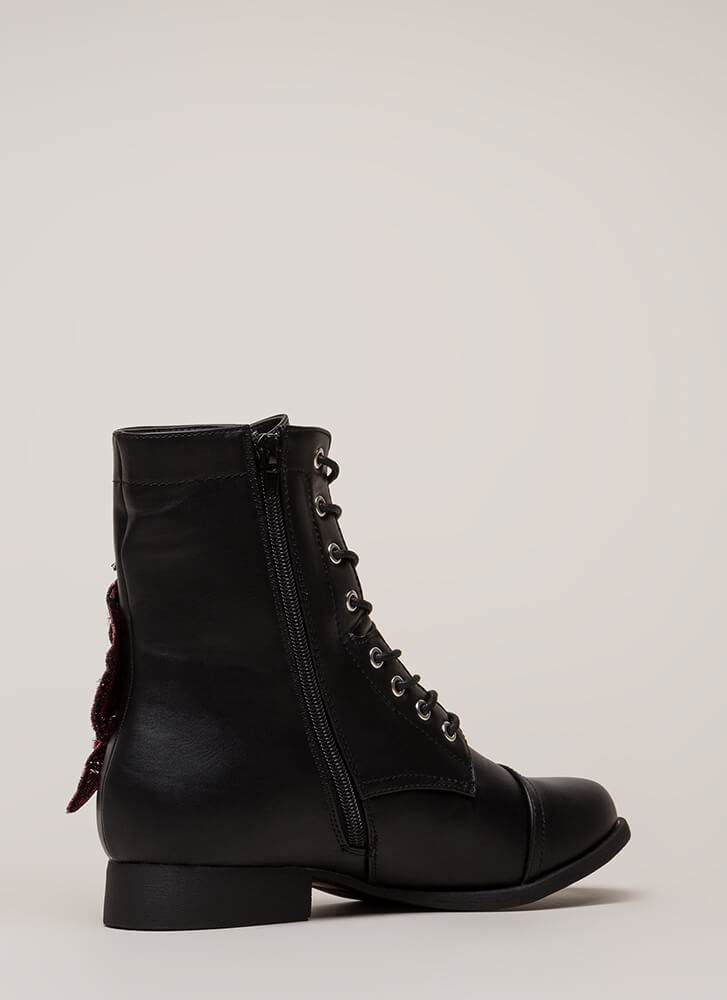 Grow Wild Embroidered Lace-Up Boots BLACK