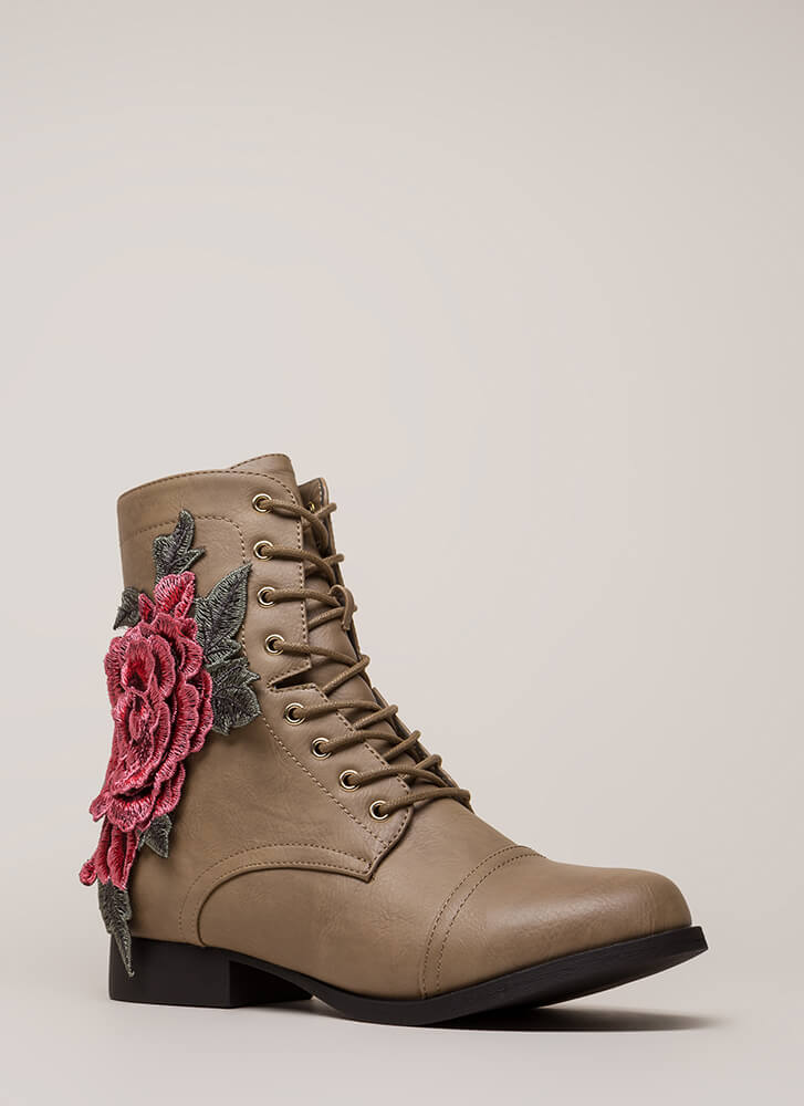 Grow Wild Embroidered Lace-Up Boots TAUPE