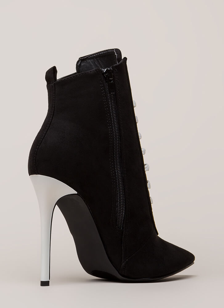 High Contrast Pointy Faux Suede Booties BLACK