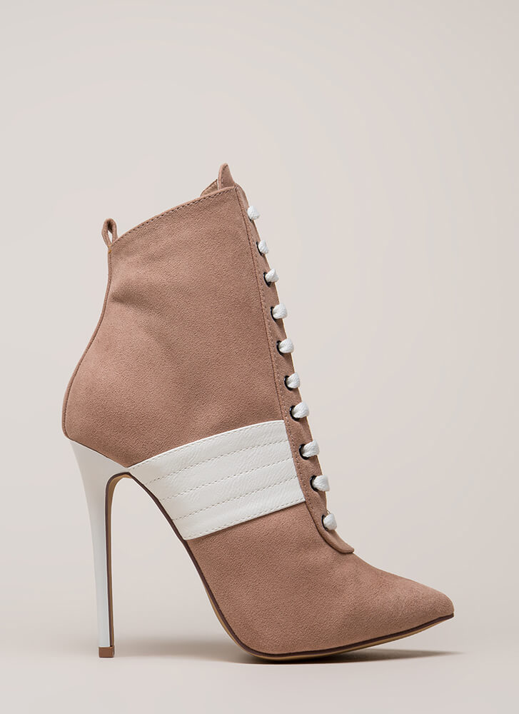 High Contrast Pointy Faux Suede Booties MAUVE