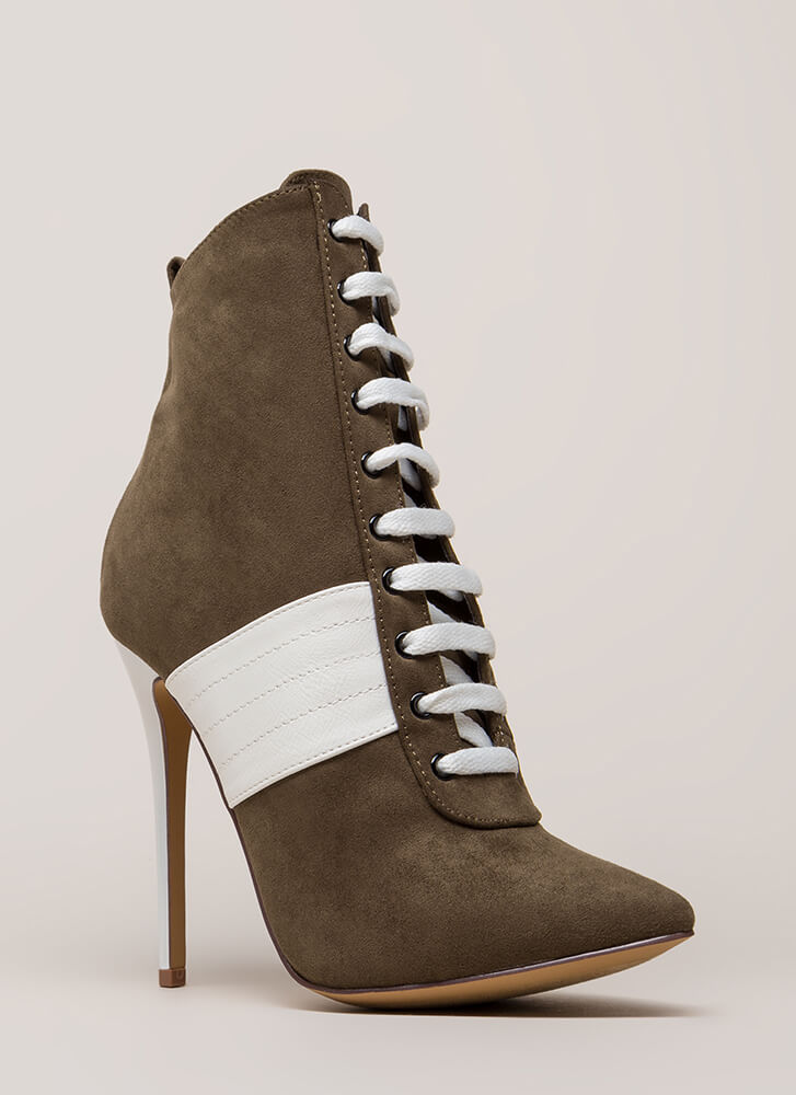 High Contrast Pointy Faux Suede Booties OLIVE