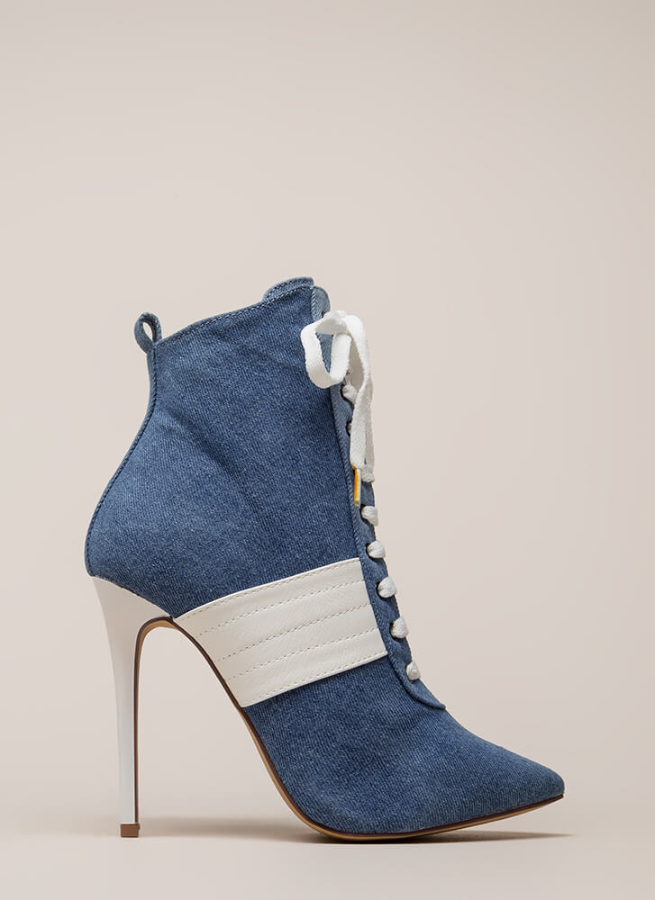 High Contrast Pointy Denim Booties DENIM (Final Sale)