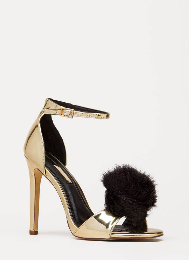 All Fur It Strappy Stiletto Heels GOLD