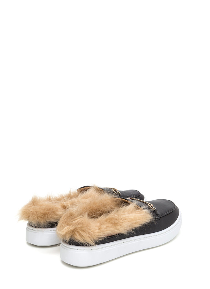 Flat Out Furry Faux Leather Sneakers BLACK
