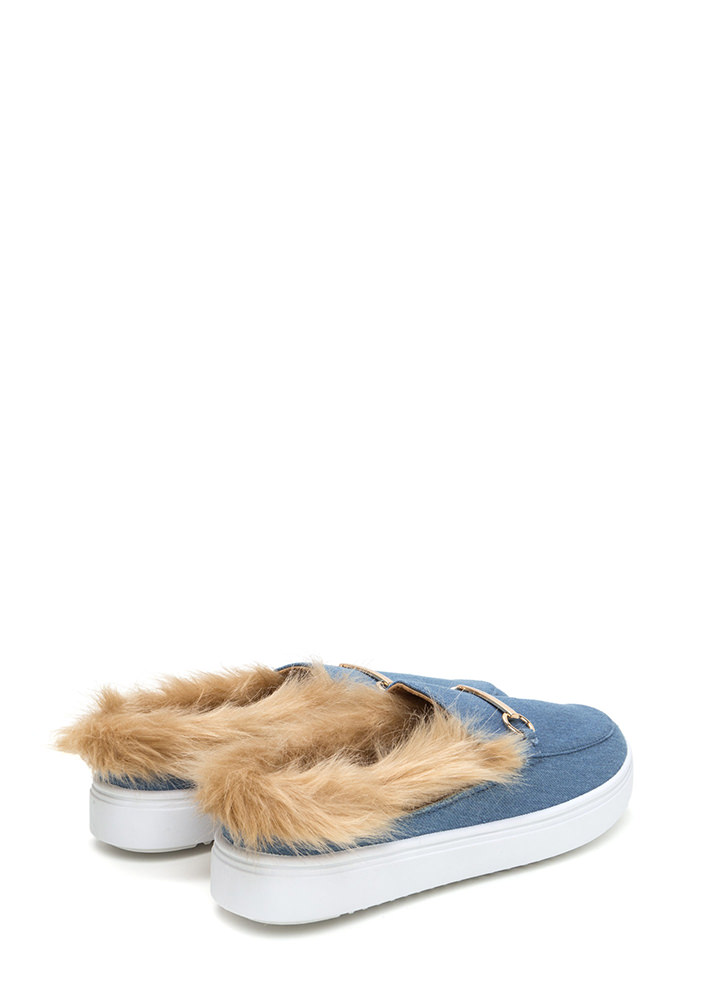 Flat Out Furry Denim Slip-On Sneakers BLUE