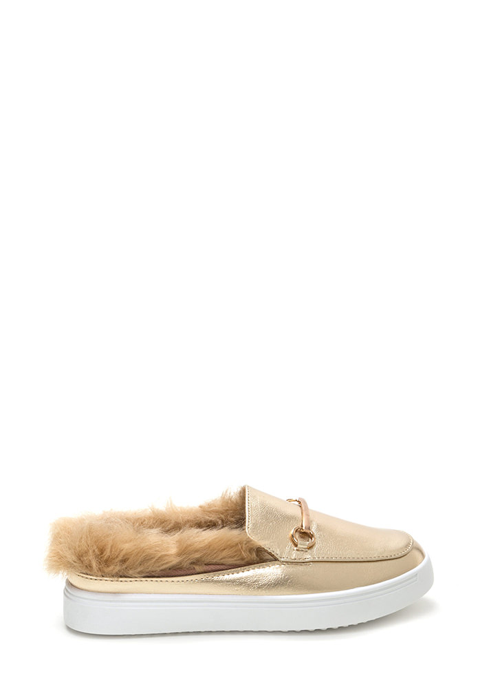 Flat Out Furry Metallic Sneakers GOLD