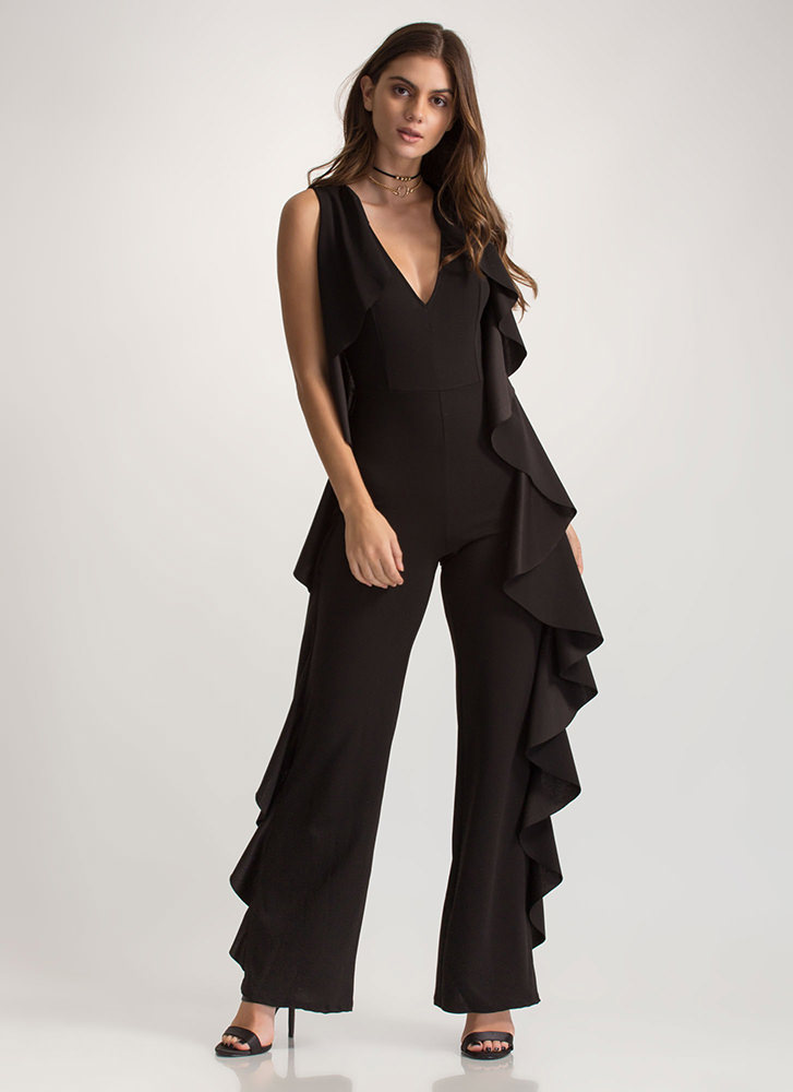 Frill Of The Chase Palazzo Jumpsuit BLACK