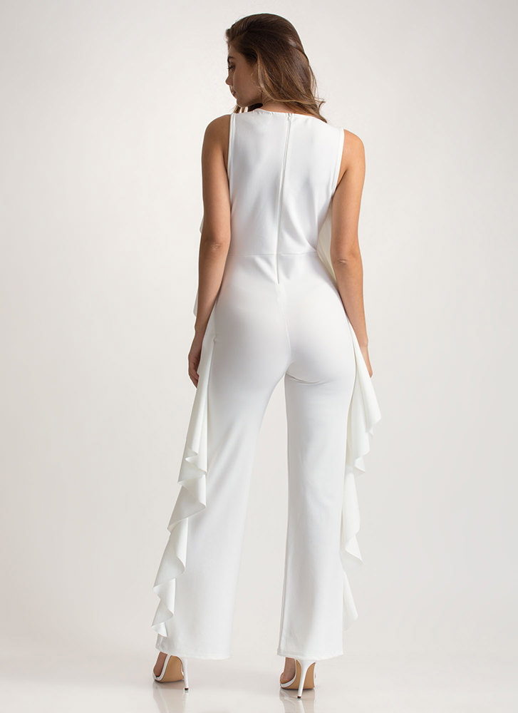 Frill Of The Chase Palazzo Jumpsuit IVORY