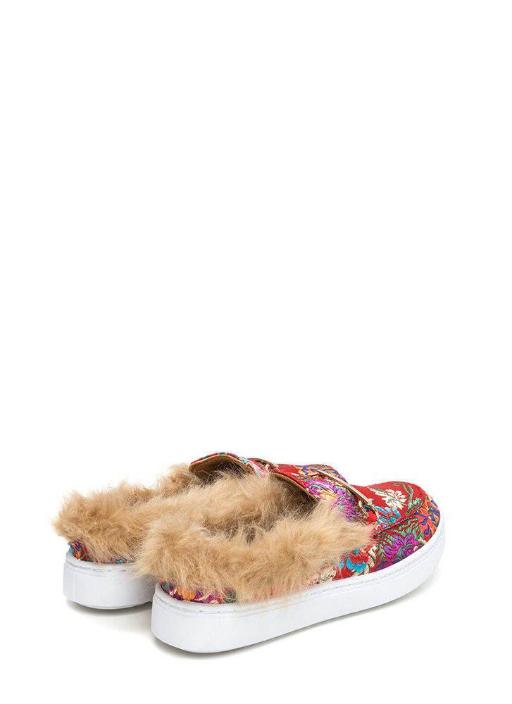 Flat Out Furry Embroidered Sneakers RED (Final Sale)