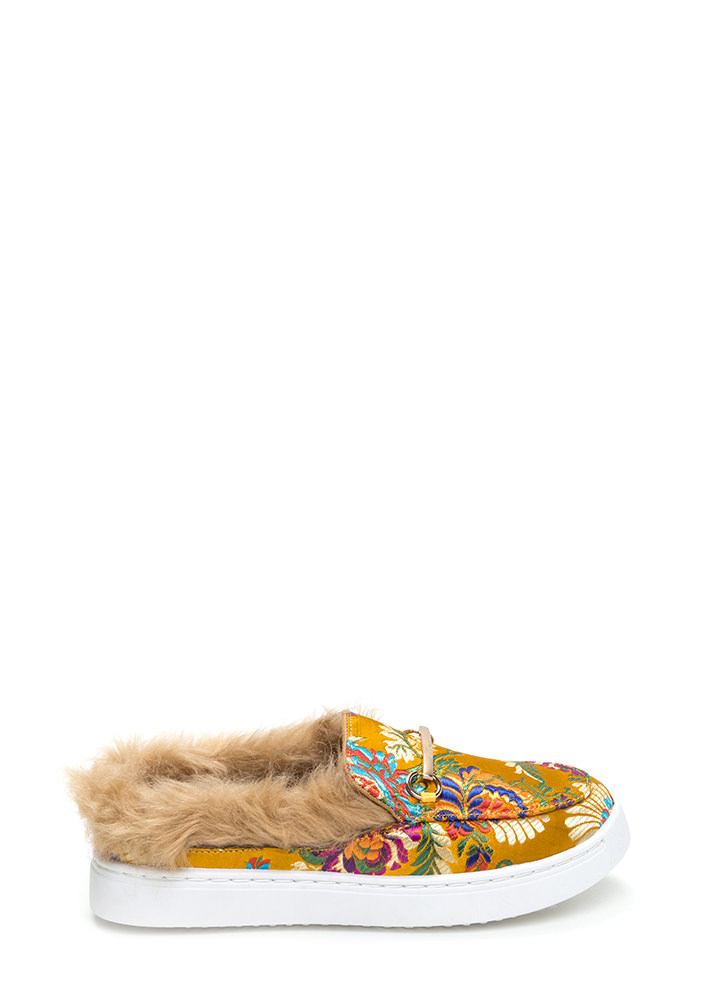 Flat Out Furry Embroidered Sneakers YELLOW