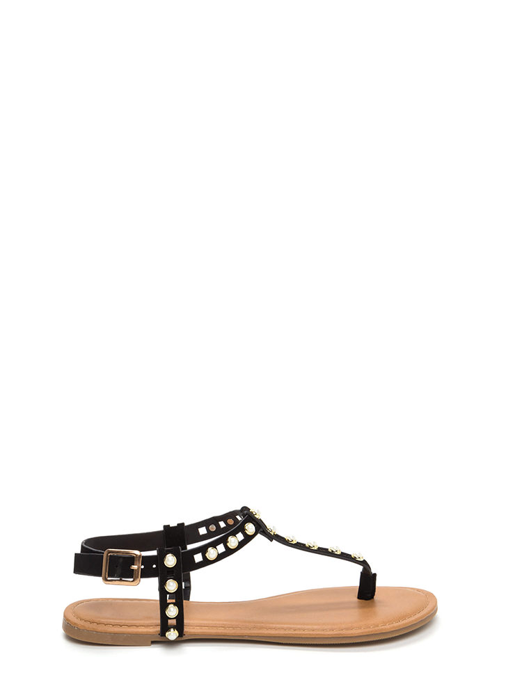 Pearly Greats Faux Nubuck Thong Sandals BLACK