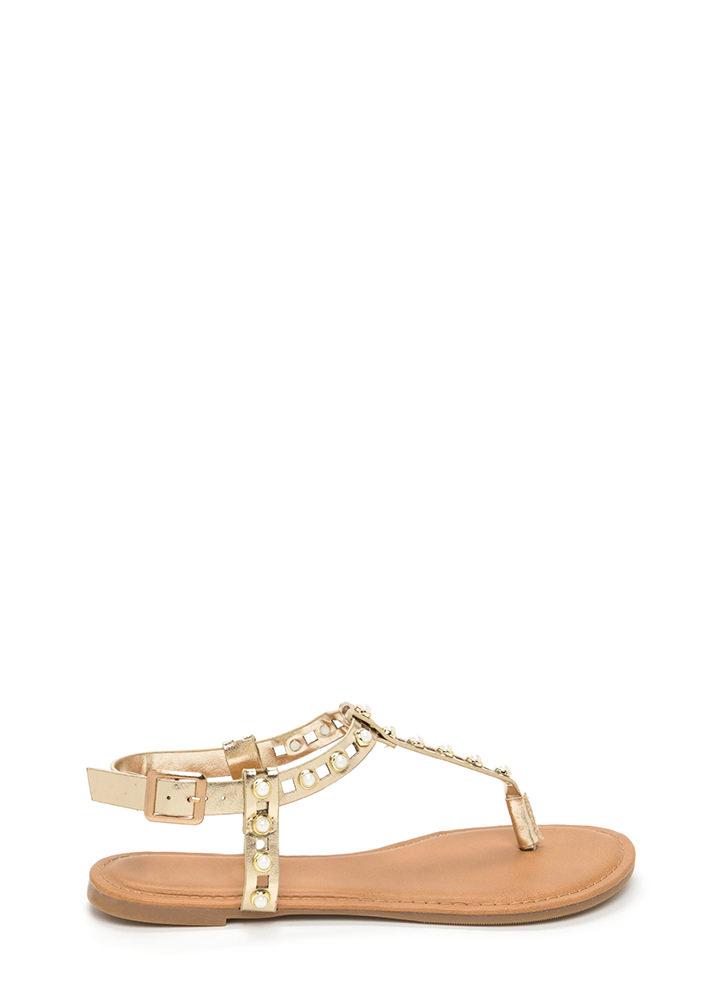 Pearly Greats Metallic Thong Sandals GOLD