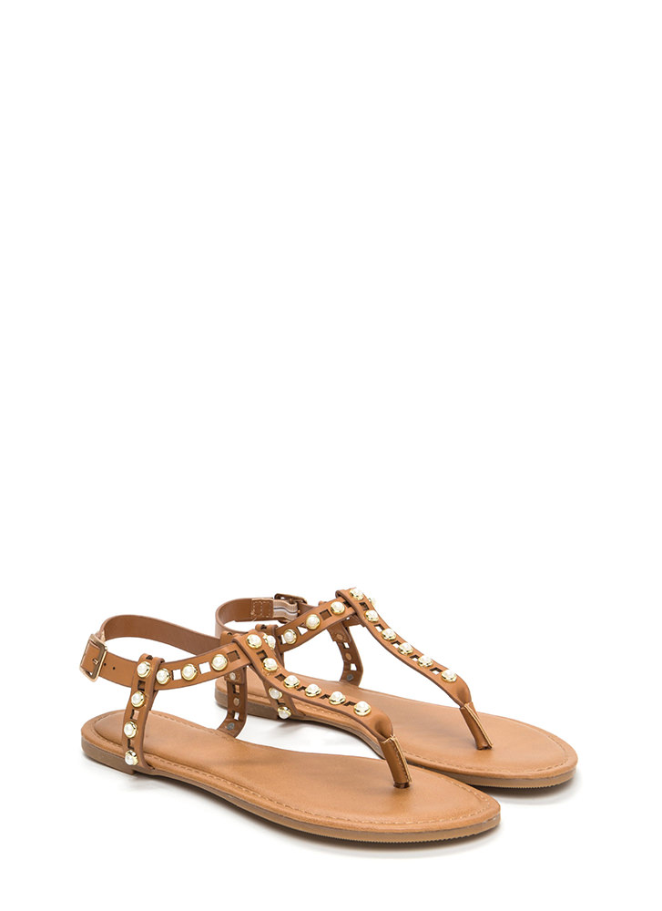 Pearly Greats Faux Leather Thong Sandals TAN