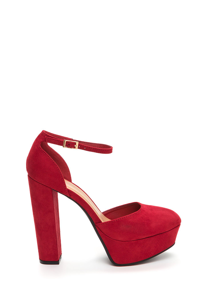 It Girl Chunky Faux Suede Platforms RED