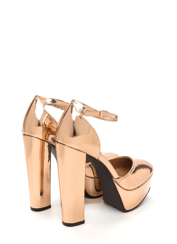 It Girl Chunky Faux Patent Platforms ROSEGOLD (Final Sale)