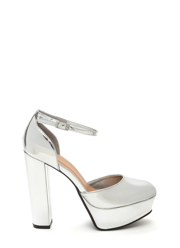 It Girl Chunky Faux Patent Platforms SILVER (Final Sale)