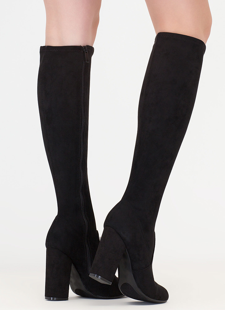 Everyday Faux Suede Knee-High Boots BLACK