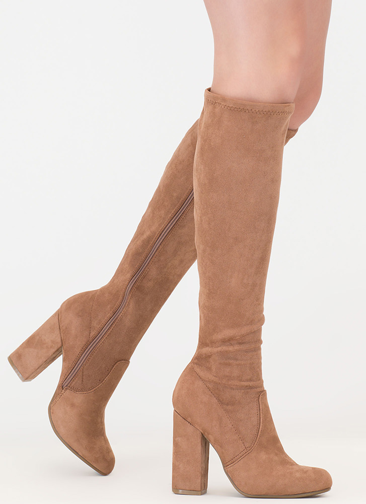 Everyday Faux Suede Knee-High Boots CAMEL