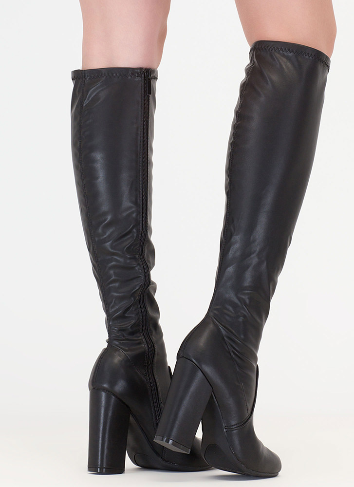 Everyday Faux Leather Knee-High Boots BLACK