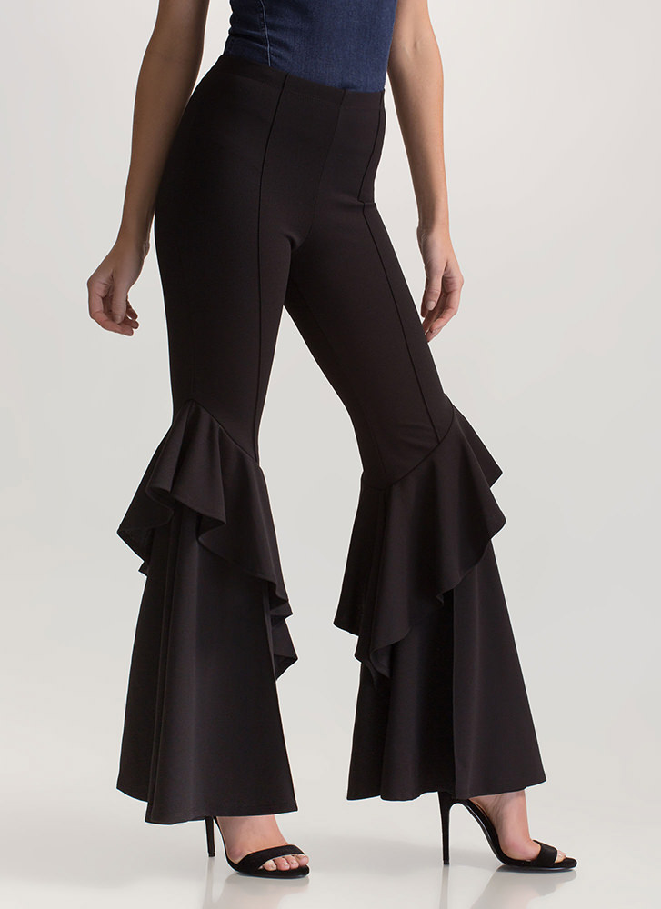 Ruffled Statement Flared Pants BLACK