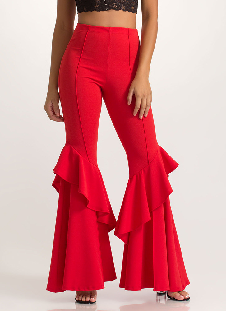 Ruffled Statement Flared Pants RED