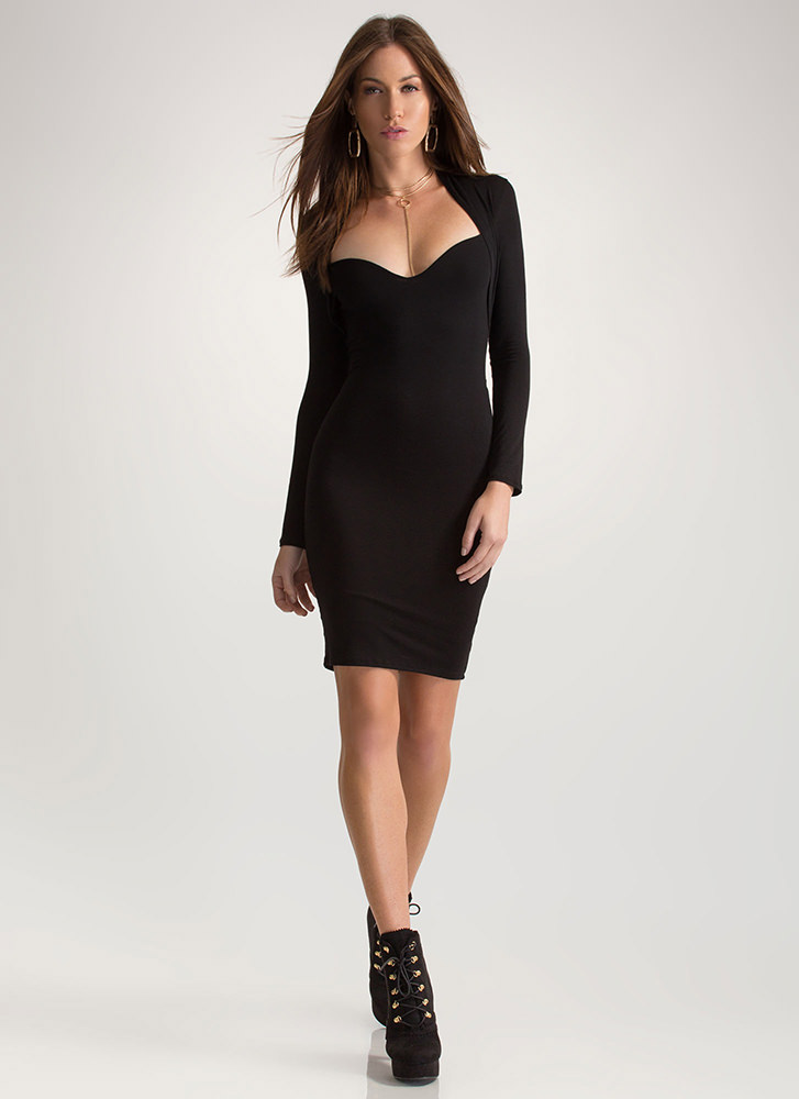 Curves On Curves Sweetheart Mini Dress BLACK