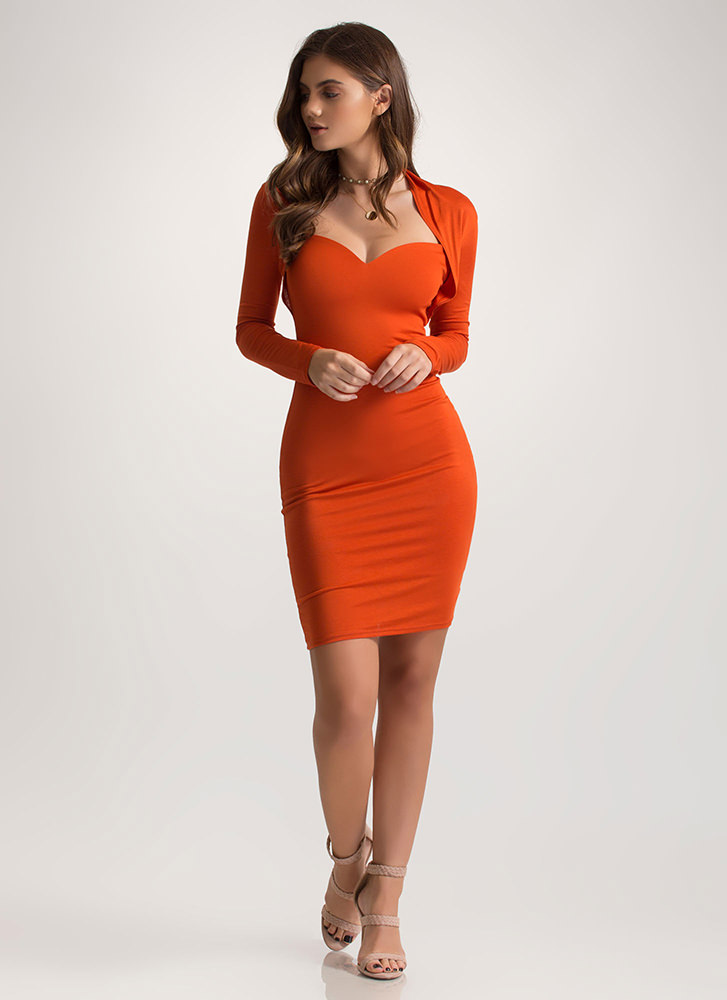 Curves On Curves Sweetheart Mini Dress RUST
