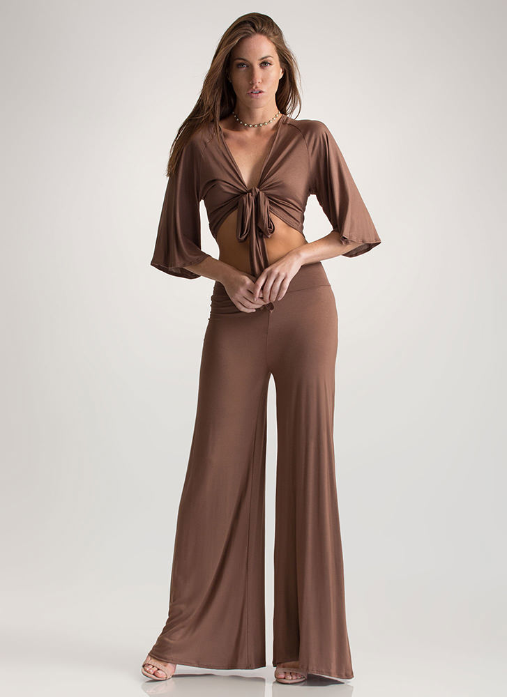 Flow Along Tied Two-Piece Jumpsuit MOCHA